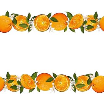 明るい柑橘系の果物のオレンジ、葉、花のフレーム