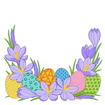 밝은 부활절 달걀과 크 로커 스 꽃의 프레임