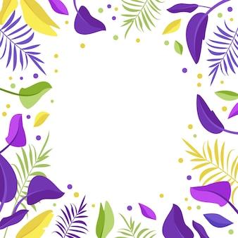 明るい紫、黄色、緑のエキゾチックな葉のフレーム。