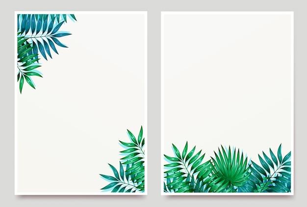 Рамка из красочных тропических листьев. концепция джунглей для оформления приглашений, открыток и обоев.