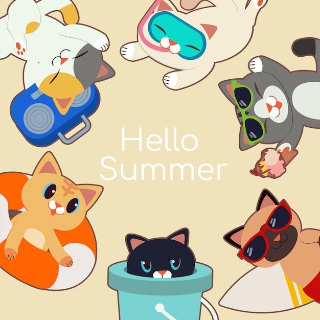 夏をテーマにしたかわいい猫のフレーム。