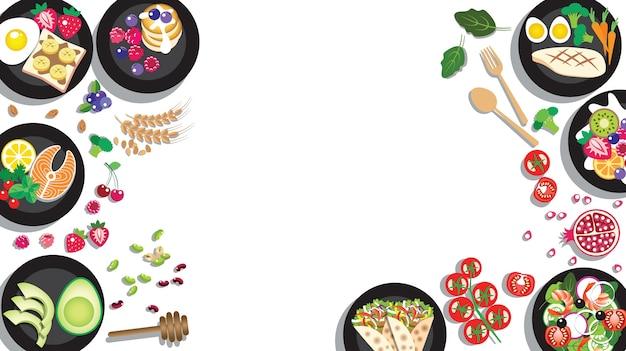 Рамка из меню вкусных чистых продуктов для концепции здорового питания