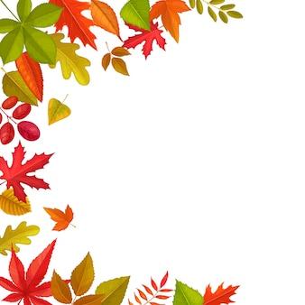 落ち葉のフレーム、カエデ、オーク、栗の紅葉、ニレのナナカマド。白い背景の上の秋の季節の木の葉と漫画の境界線。