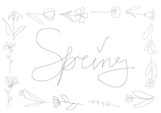 白い背景の花のフレーム1つの連続線黒のアウトラインアート花のベクトル