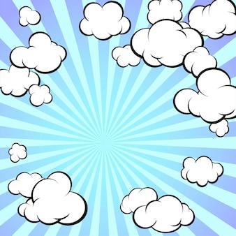 Рамка из нарисованных облаков. радиальные лучи солнца. ретро стиль. мультфильм. квадратный формат. векторная иллюстрация.