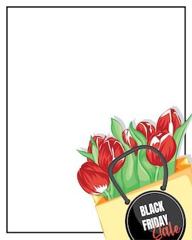 흰색 테이블에 공예 종이에 싸인 빨간 튤립의 프레임. 종이 봉투에 빨간 튤립입니다. 배경 검은 금요일 판매 템플릿입니다.
