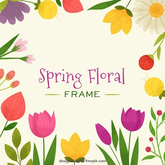 Frame of spring floral with bright colors