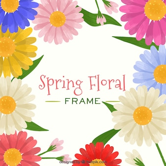 Frame of spring floral with many colors