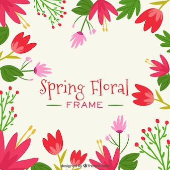 Frame of spring floral with red colors