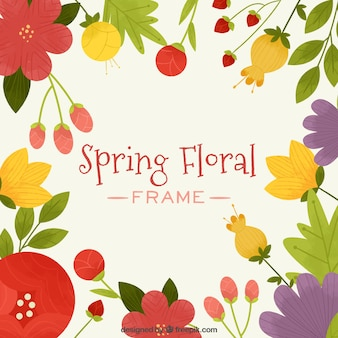 Frame of spring floral with warm colors