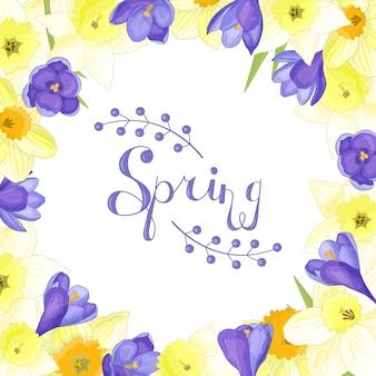 Рамка из весенних цветов нарциссов и крокусов