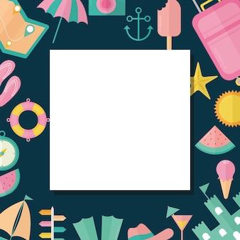 Рамка летних иконок с зонтиком, арбузом и дизайном иллюстрации чемодана