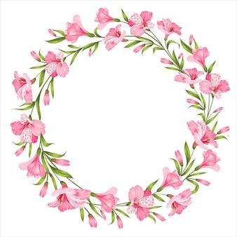 白い背景の上の熱帯の花のフレーム。ベクトルイラスト。
