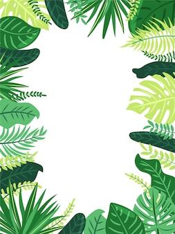 熱帯の葉のフレーム。エキゾチックなジャングルの植物の葉を持つイラスト。ジャングルスタイルコピースペースと白い背景の上のベクトル組成。