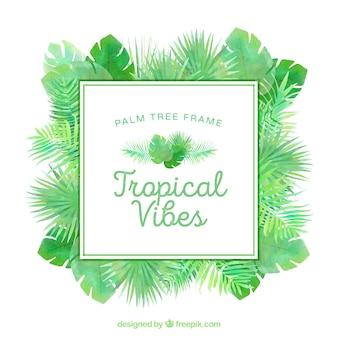 Рамка тропических пальмовых листьев