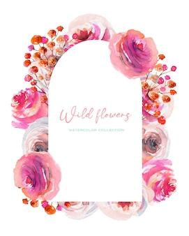 水彩のピンクと白のバラのフレーム