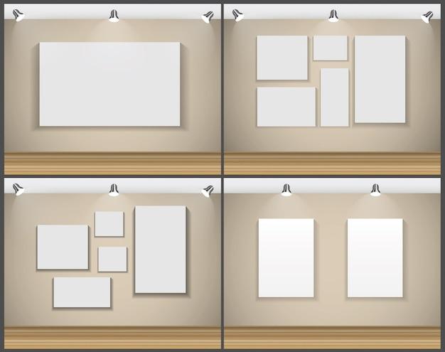 Рамка на стене для вашего текста и изображений, векторные иллюстрации