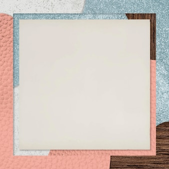 Frame on pink and blue collage textured background