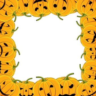 Frame of pumpkin halloween card with pumpkins