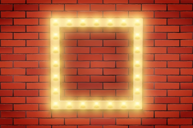 Frame of retro light bulb on brick wall.