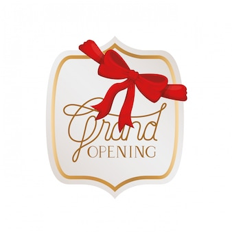 Frame and ribbon with label grand opening