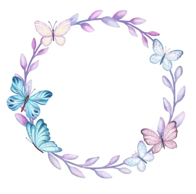 白で隔離される蝶とフレームリングリース。水彩イラスト