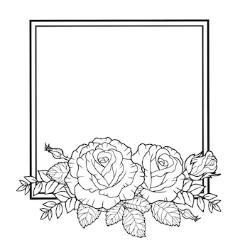 Frame of rose flowers branches and leaves