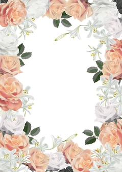 Frame roses realistic illustration