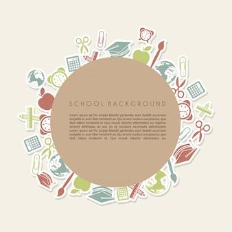 Frame school over cream background vector illustration