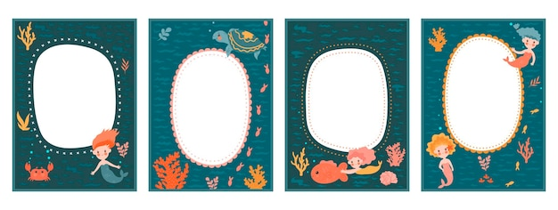 Frame set for baby's photo album with cute mermaids
