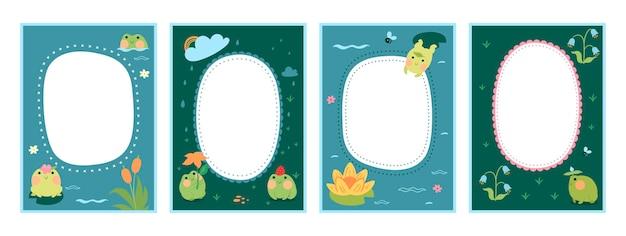 Набор рамок для детского фотоальбома с милыми лягушками