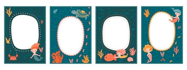 Набор рамок для детского фотоальбома с милыми русалками