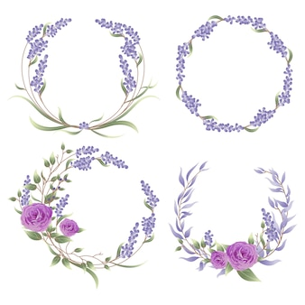 Frame set with lavender and rose flowers.
