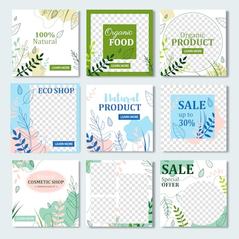 Frame template banner decorated with herbs.