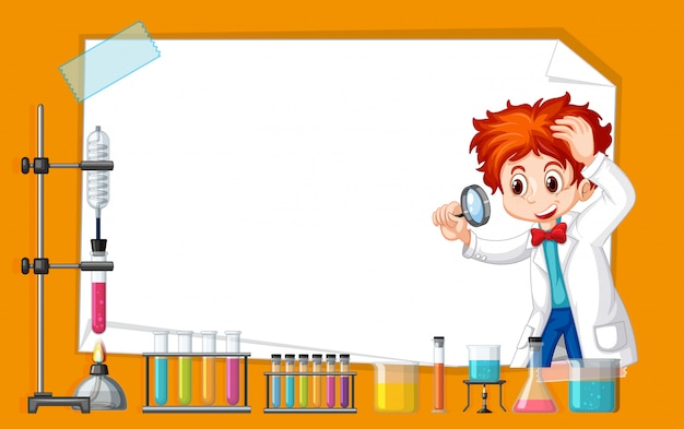 Frame template design with kid in science lab