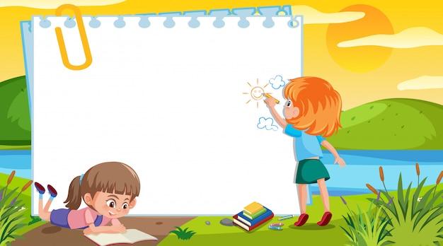 公園で描く子供とフレームテンプレートデザイン