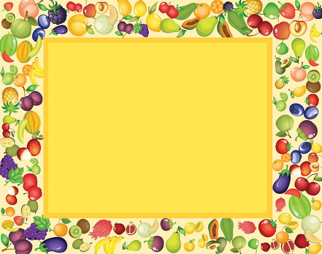 Frame template design with mixed tropical fruits