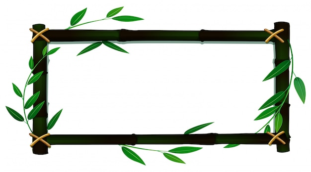 Frame template with bamboo leaves