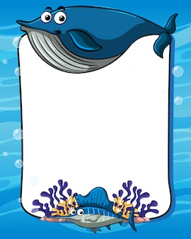 Frame template with blue whale