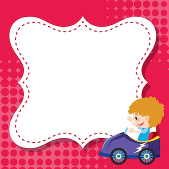 Frame template with boy in racing car
