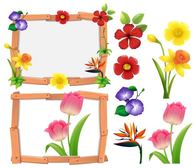 異なるタイプの花を持つフレームテンプレート