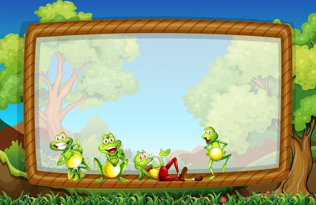Frame template with frogs in the garden