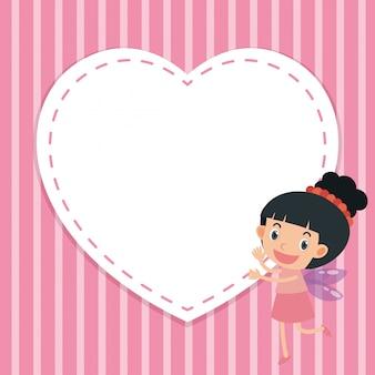 女の子と心のフレームテンプレート
