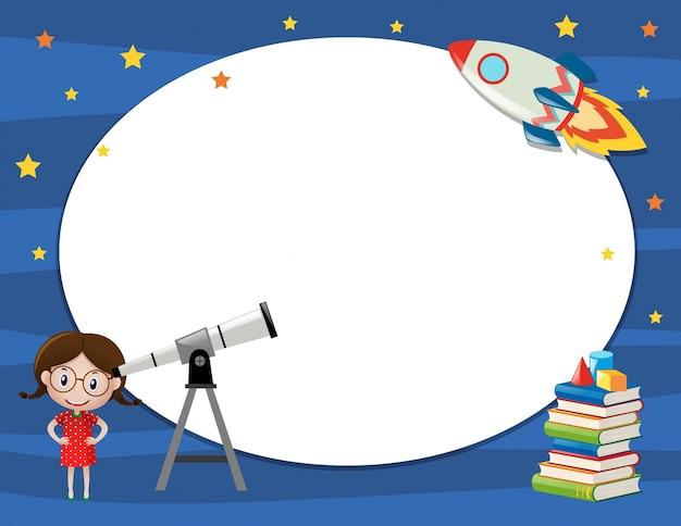 女の子と望遠鏡とフレームテンプレート