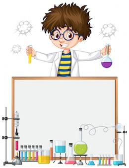 Frame template  with kid in science lab