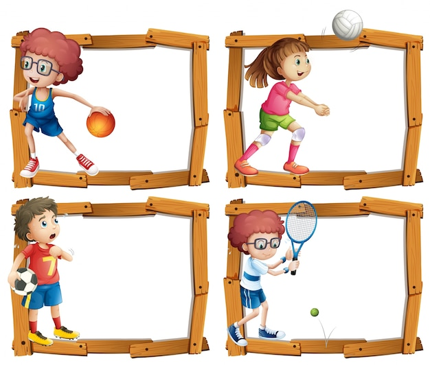 子供たちとスポーツをするフレームテンプレート