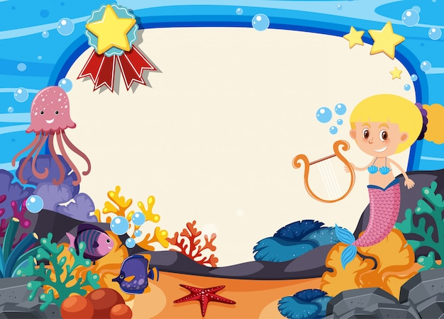 Frame template with mermaid under the sea