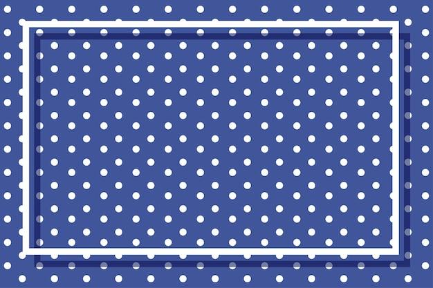 Modello di cornice con pois su sfondo blu