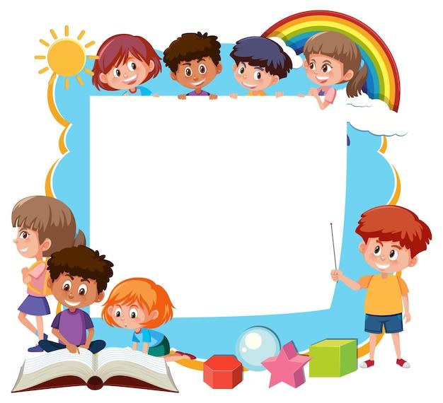 학교 아이 만화 캐릭터와 프레임 템플릿