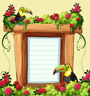 Frame template with toucan and flowers